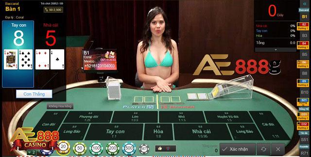 Giao diện chơi Baccarat tại nhà cái AE888
