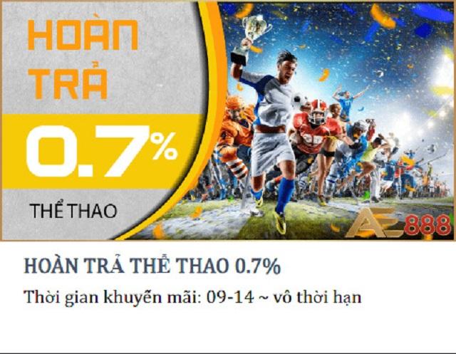 Hoàn trả 0.9% tại Thể thao không giới hạn
